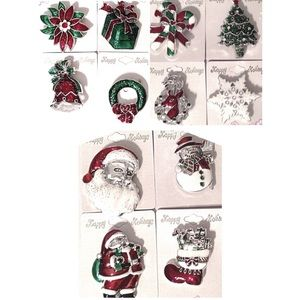 Christmas Brooch Pin Winter Santa Wreath Tree